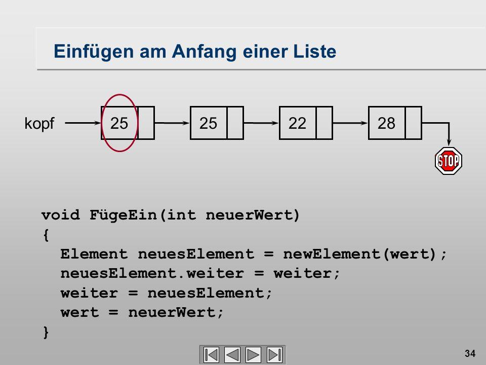 34 252228 kopf void FügeEin(int neuerWert) { Element neuesElement = newElement(wert); neuesElement.weiter = weiter; weiter = neuesElement; wert = neuerWert; } 25 Einfügen am Anfang einer Liste