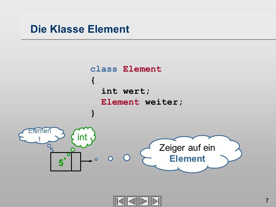 38 Liste 0..1 kopf 0..1 fuß 0..1 Element +Element(i : int) -wert : int weiter 0..1 Die Klasse Liste