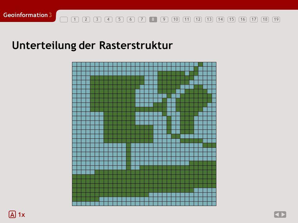 Geoinformation3 123456789101112131415161718198 Unterteilung der Rasterstruktur A 1x
