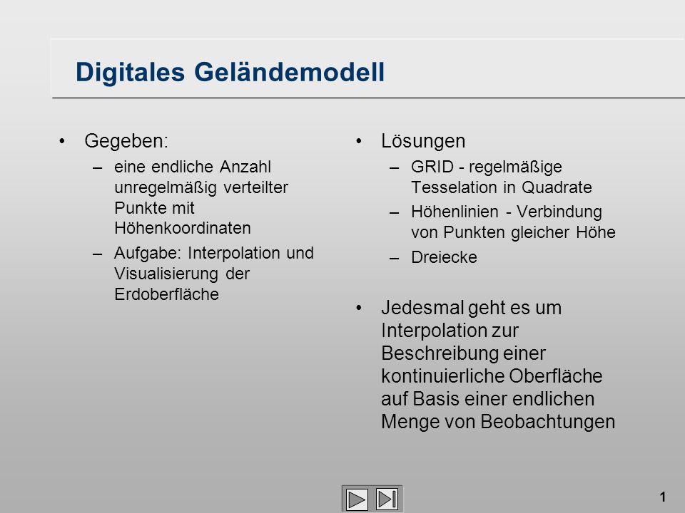 1 Digitales Geländemodell Gegeben: –eine endliche Anzahl unregelmäßig verteilter Punkte mit Höhenkoordinaten –Aufgabe: Interpolation und Visualisierun