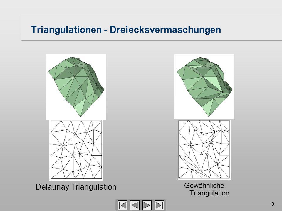 2 Triangulationen - Dreiecksvermaschungen Delaunay Triangulation Gewöhnliche Triangulation