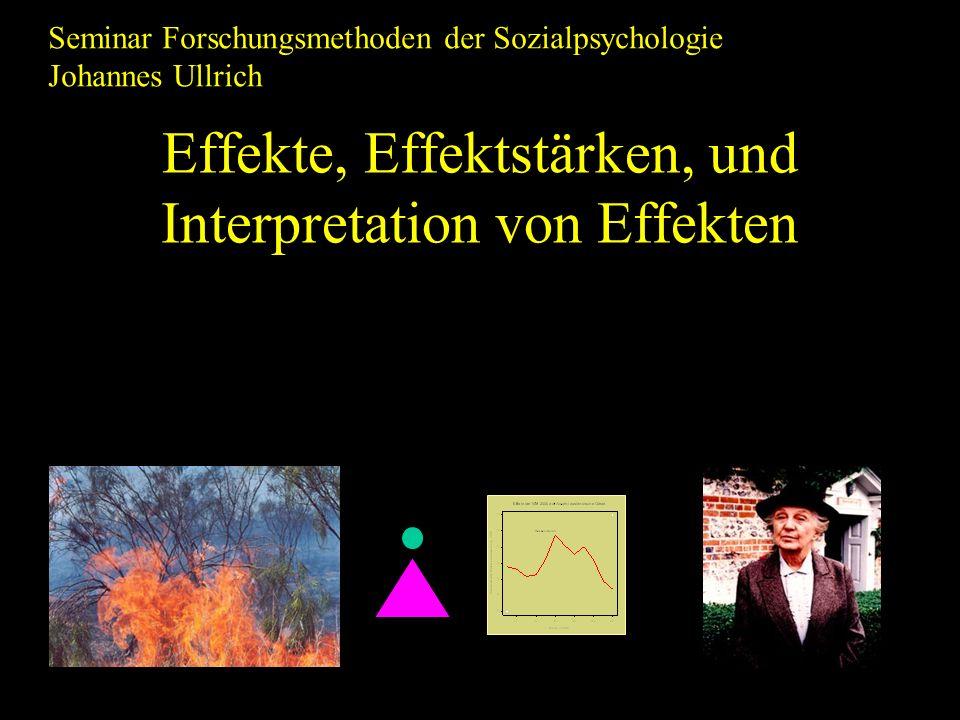 Effekte, Effektstärken, und Interpretation von Effekten Seminar Forschungsmethoden der Sozialpsychologie Johannes Ullrich
