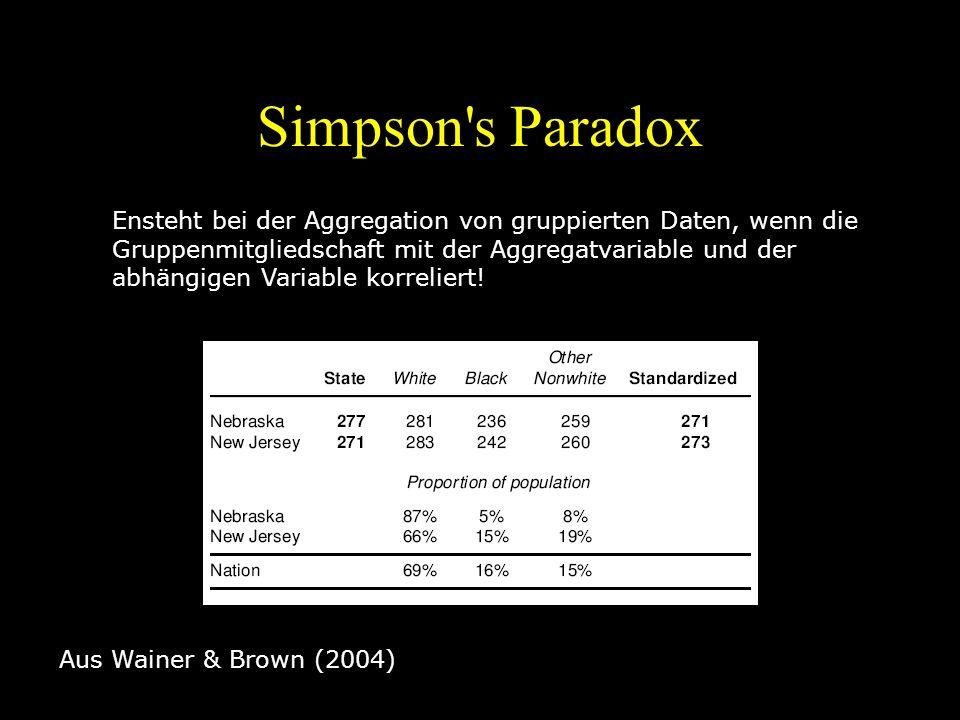 Simpson's Paradox Aus Wainer & Brown (2004) Ensteht bei der Aggregation von gruppierten Daten, wenn die Gruppenmitgliedschaft mit der Aggregatvariable