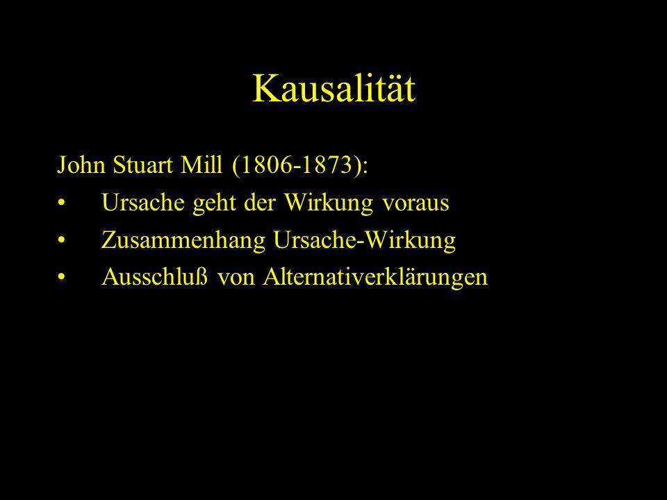 Kausalität John Stuart Mill (1806-1873): Ursache geht der Wirkung voraus Zusammenhang Ursache-Wirkung Ausschluß von Alternativerklärungen