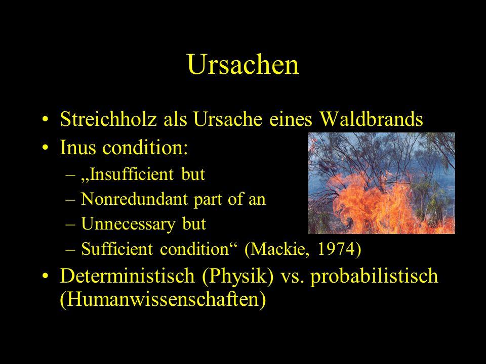 Ursachen Streichholz als Ursache eines Waldbrands Inus condition: –Insufficient but –Nonredundant part of an –Unnecessary but –Sufficient condition (M