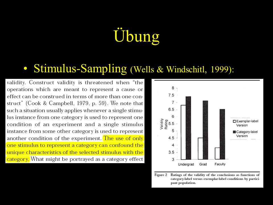 Übung Stimulus-Sampling (Wells & Windschitl, 1999):