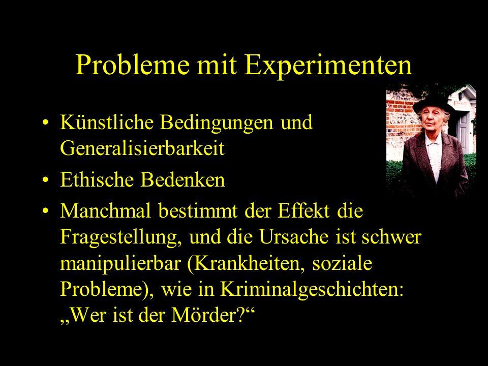 Probleme mit Experimenten Künstliche Bedingungen und Generalisierbarkeit Ethische Bedenken Manchmal bestimmt der Effekt die Fragestellung, und die Urs