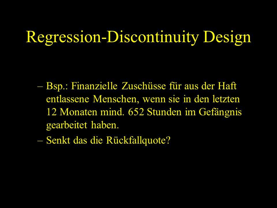 Regression-Discontinuity Design –Bsp.: Finanzielle Zuschüsse für aus der Haft entlassene Menschen, wenn sie in den letzten 12 Monaten mind. 652 Stunde