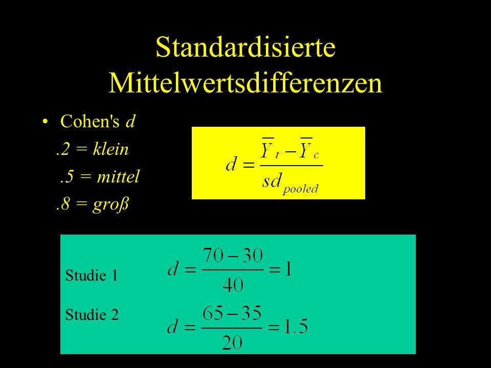 Standardisierte Mittelwertsdifferenzen Cohen's d.2 = klein.5 = mittel.8 = groß Studie 1 Studie 2