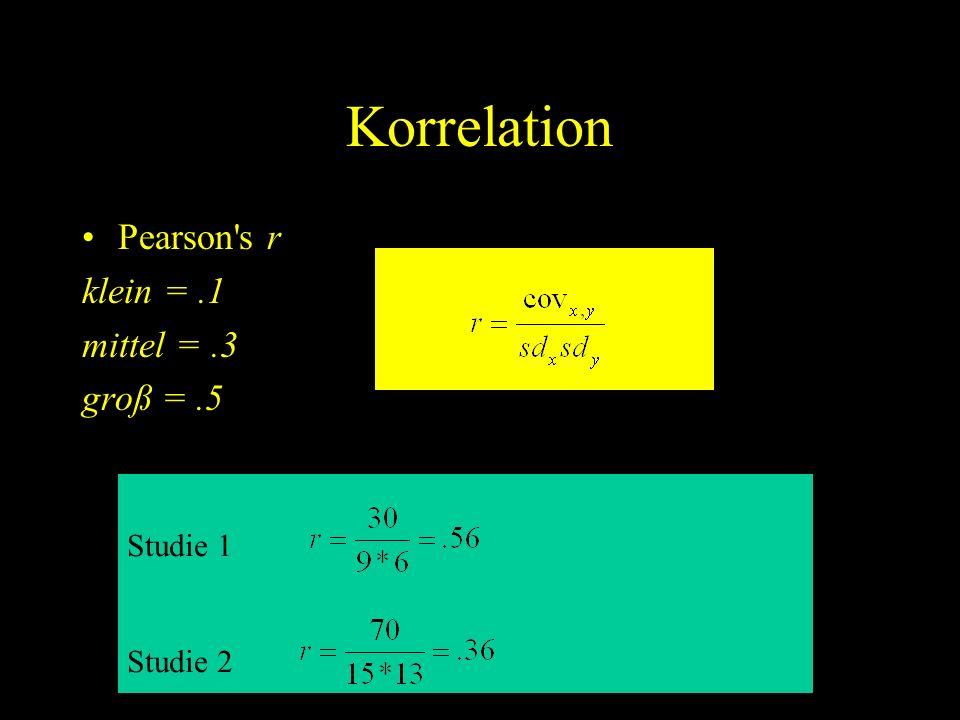 Korrelation Pearson's r klein =.1 mittel =.3 groß =.5 Studie 1 Studie 2