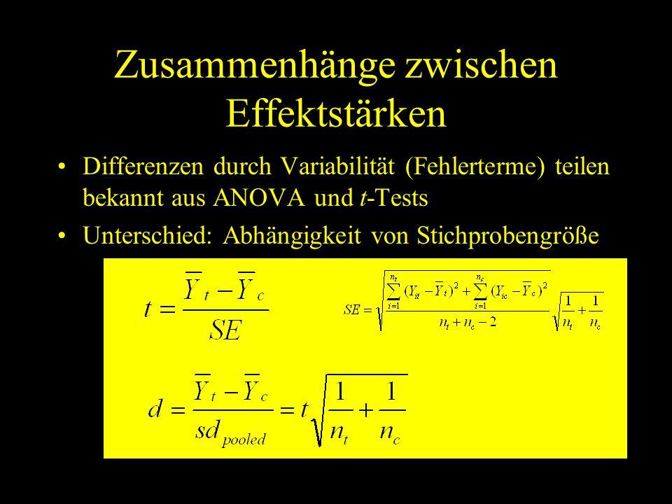 Zusammenhänge zwischen Effektstärken Differenzen durch Variabilität (Fehlerterme) teilen bekannt aus ANOVA und t-Tests Unterschied: Abhängigkeit von S