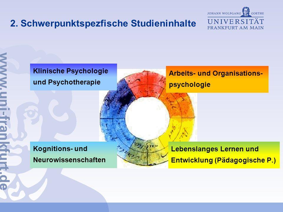 2. Schwerpunktspezfische Studieninhalte Klinische Psychologie und Psychotherapie Arbeits- und Organisations- psychologie Lebenslanges Lernen und Entwi