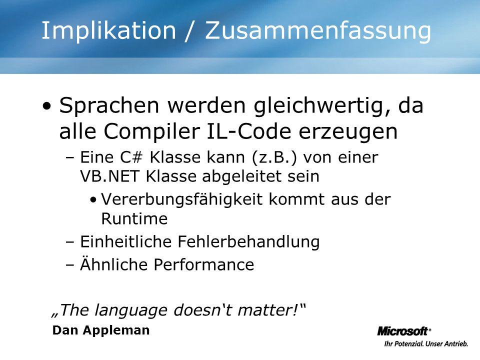 Implikation / Zusammenfassung Sprachen werden gleichwertig, da alle Compiler IL-Code erzeugen –Eine C# Klasse kann (z.B.) von einer VB.NET Klasse abge