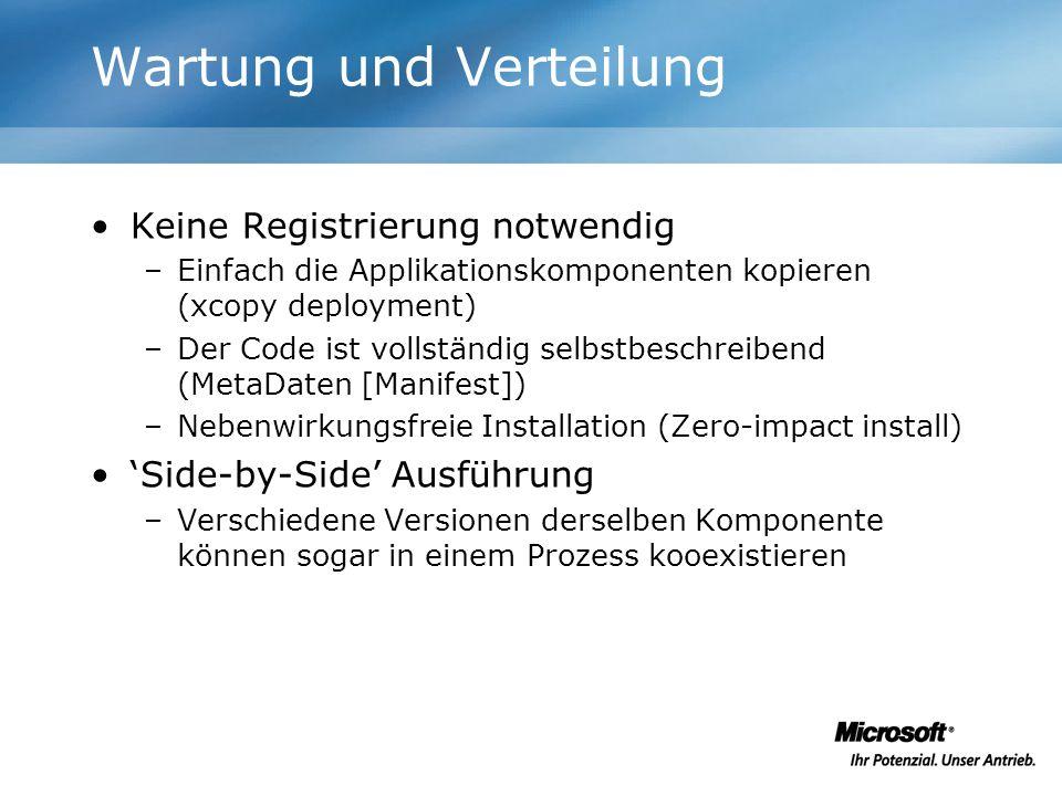 Wartung und Verteilung Keine Registrierung notwendig –Einfach die Applikationskomponenten kopieren (xcopy deployment) –Der Code ist vollständig selbst