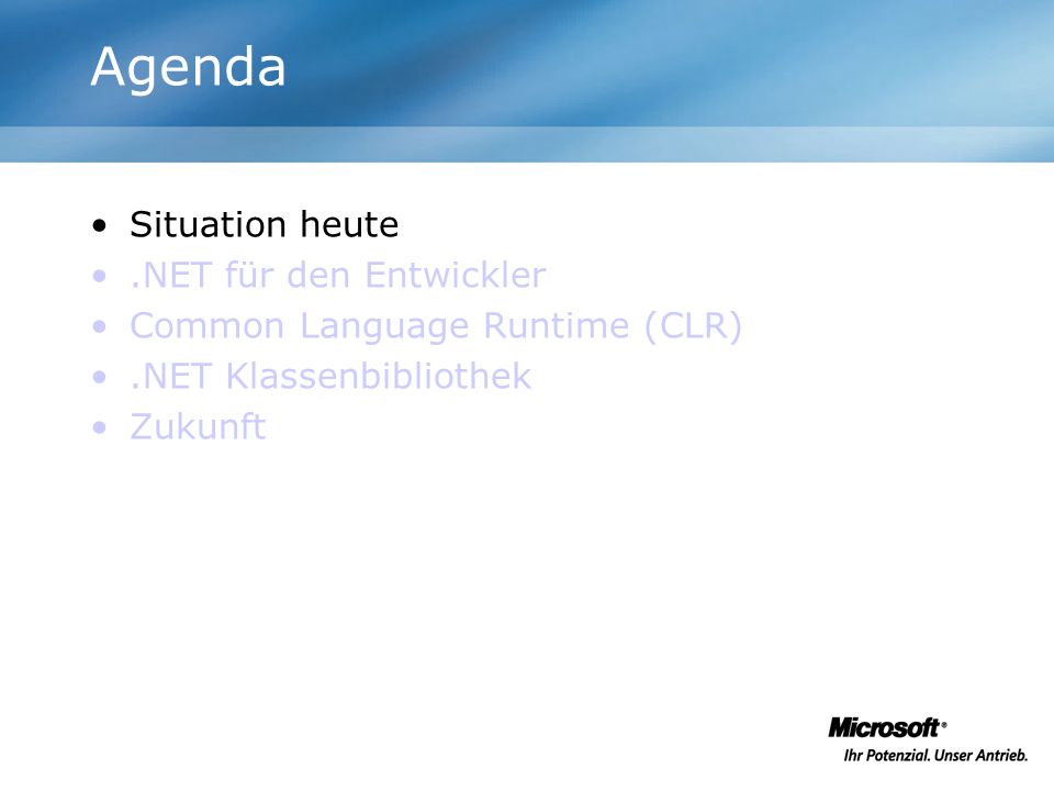 Links http://msdn.microsoft.com/webservices/indigo /default.aspx http://msdn.microsoft.com/netframework http://www.codeproject.com http://www.guidetocsharp.de http://www.codezone.de http://www.terraserver.com