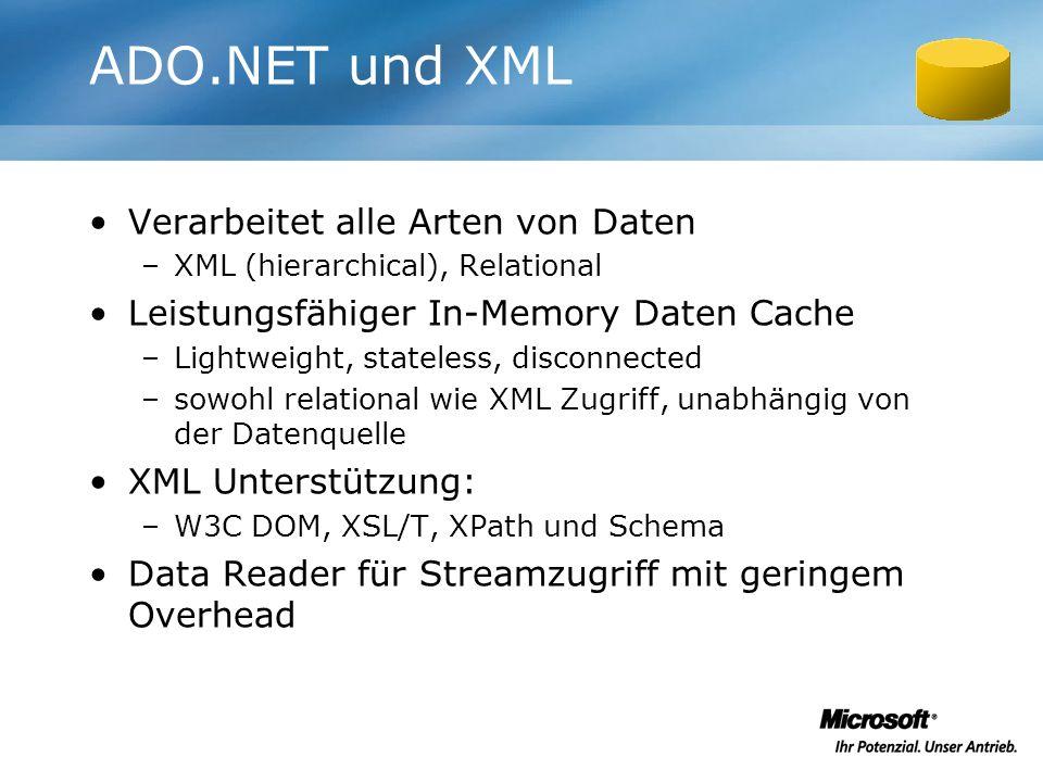 ADO.NET und XML Verarbeitet alle Arten von Daten –XML (hierarchical), Relational Leistungsfähiger In-Memory Daten Cache –Lightweight, stateless, disco