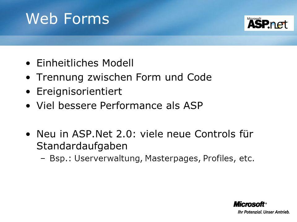 Web Forms Einheitliches Modell Trennung zwischen Form und Code Ereignisorientiert Viel bessere Performance als ASP Neu in ASP.Net 2.0: viele neue Cont