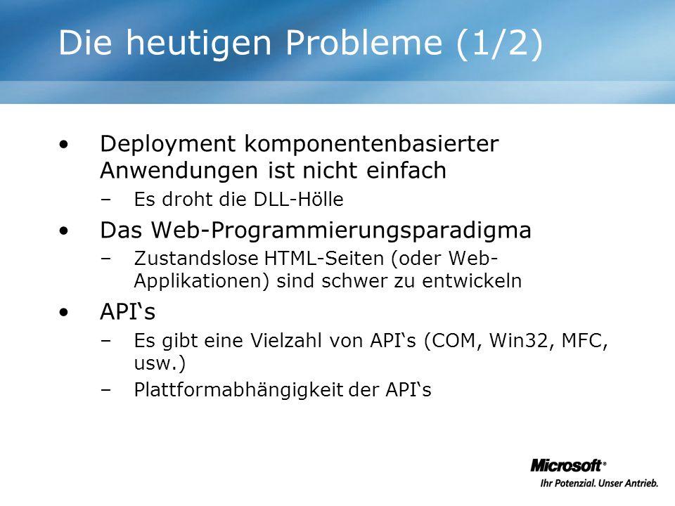 Die heutigen Probleme (1/2) Deployment komponentenbasierter Anwendungen ist nicht einfach –Es droht die DLL-Hölle Das Web-Programmierungsparadigma –Zu