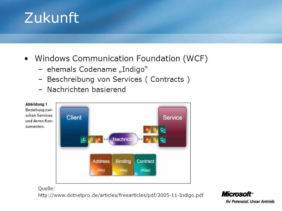 Windows Communication Foundation (WCF) –ehemals Codename Indigo –Beschreibung von Services ( Contracts ) –Nachrichten basierend Quelle: http://www.dot