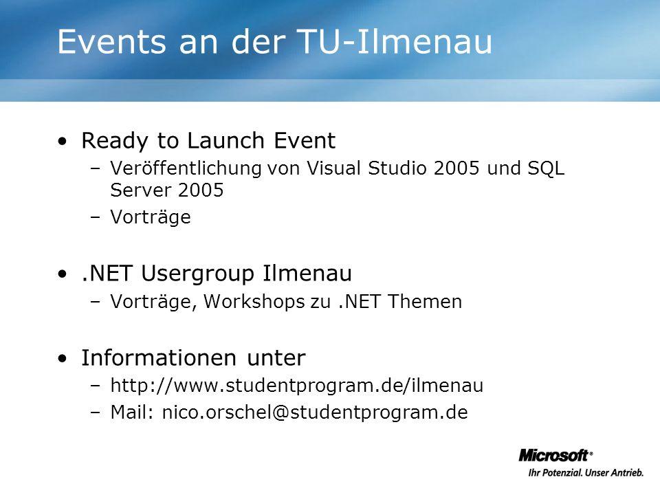 Events an der TU-Ilmenau Ready to Launch Event –Veröffentlichung von Visual Studio 2005 und SQL Server 2005 –Vorträge.NET Usergroup Ilmenau –Vorträge,