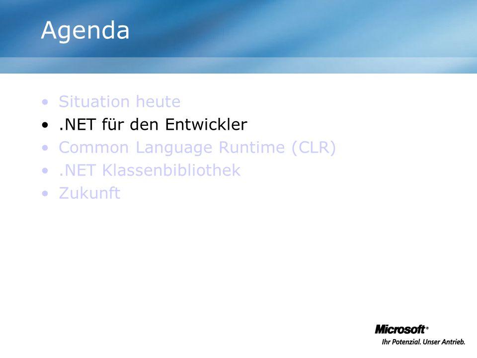 Agenda Situation heute Common Language Spezification (CLS) Common Language Runtime (CLR).NET Klassenbibliothek –ADO.NET und XML –Web Services und Web Applikationen Zukunft
