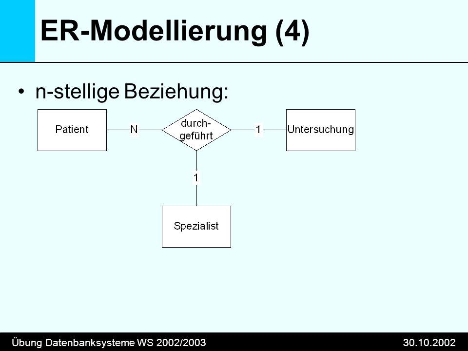 Übung Datenbanksysteme WS 2002/200330.10.2002 ER-Modellierung (4) n-stellige Beziehung: