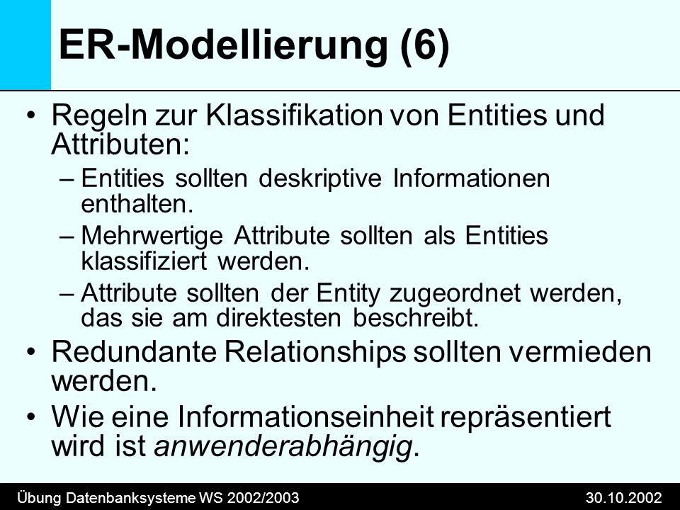 Übung Datenbanksysteme WS 2002/200330.10.2002 ER-Modellierung (6) Regeln zur Klassifikation von Entities und Attributen: –Entities sollten deskriptive Informationen enthalten.