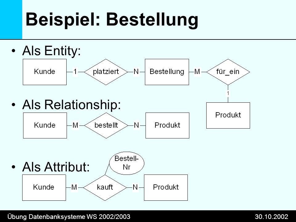 Übung Datenbanksysteme WS 2002/200330.10.2002 Beispiel: Bestellung Als Entity: Als Relationship: Als Attribut: