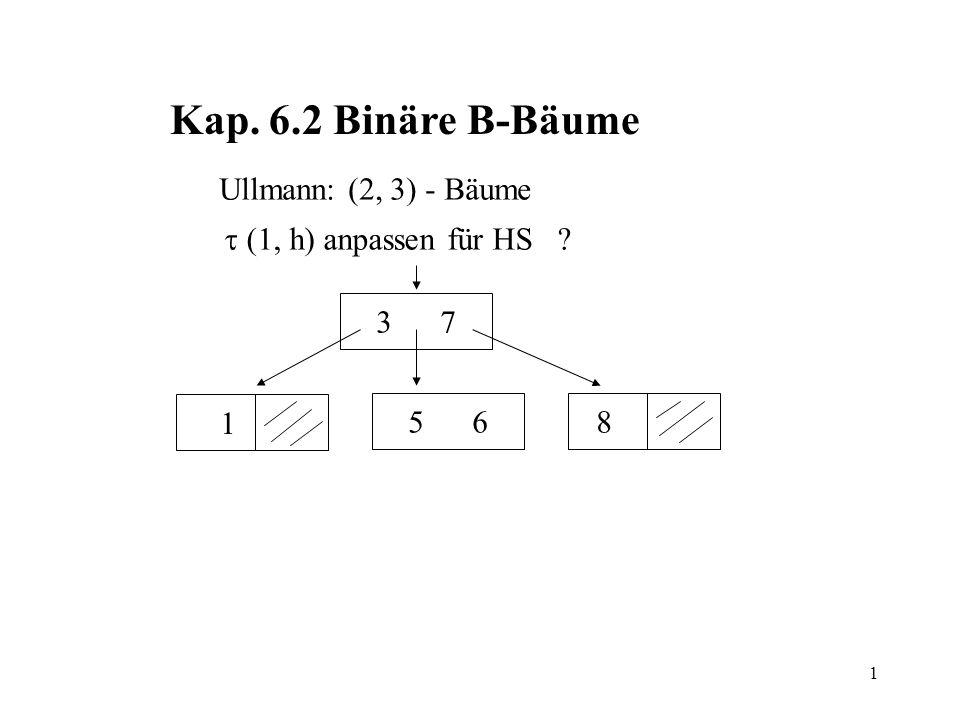 1 Kap. 6.2 Binäre B-Bäume Ullmann: (2, 3) - Bäume (1, h) anpassen für HS ? 3 7 85 6 1