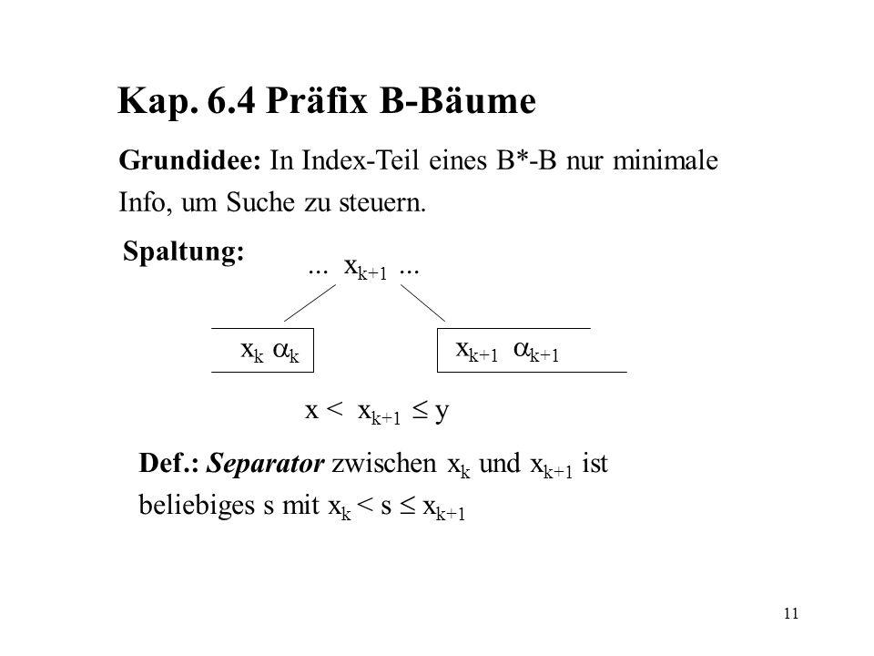 11 Kap. 6.4 Präfix B-Bäume Grundidee: In Index-Teil eines B*-B nur minimale Info, um Suche zu steuern. Spaltung:... x k+1... x k k x k+1 k+1 x < x k+1