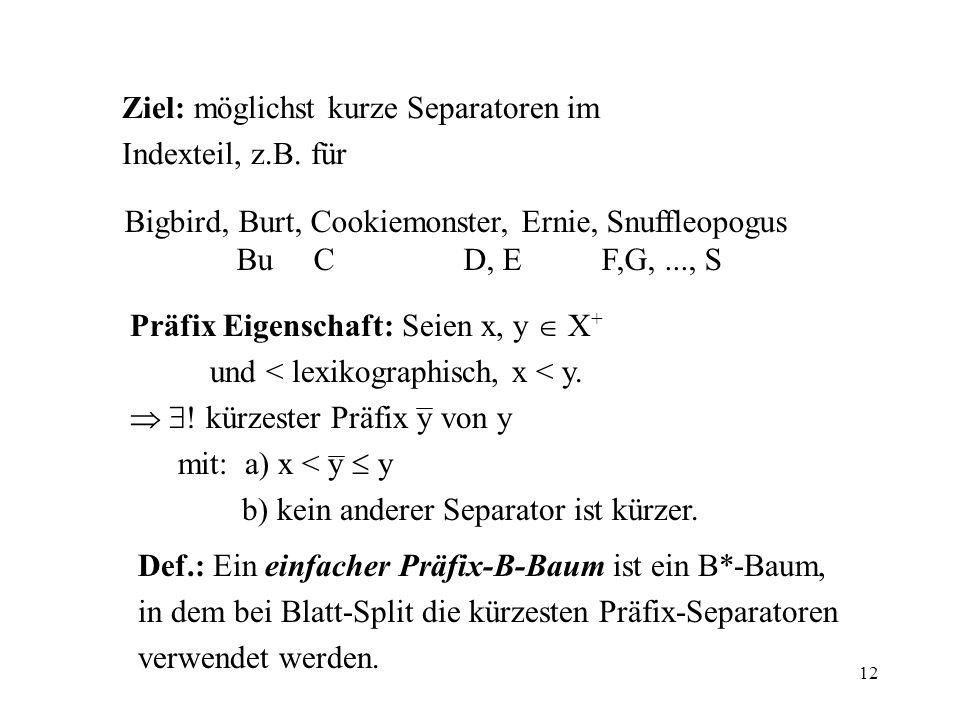 12 Ziel: möglichst kurze Separatoren im Indexteil, z.B. für Bigbird, Burt, Cookiemonster, Ernie, Snuffleopogus Bu C D, E F,G,..., S Präfix Eigenschaft
