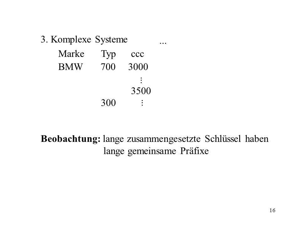 16 3. Komplexe Systeme MarkeTypccc BMW 700 3000 3500 300 Beobachtung: lange zusammengesetzte Schlüssel haben lange gemeinsame Präfixe..........