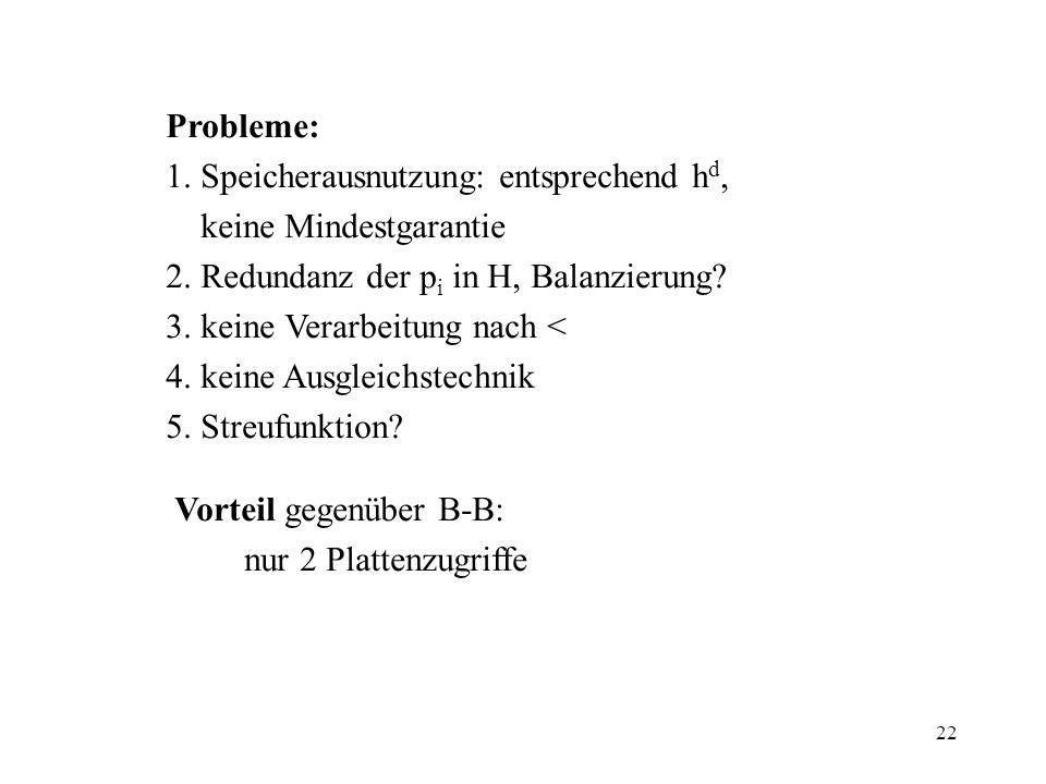 22 Probleme: 1. Speicherausnutzung: entsprechend h d, keine Mindestgarantie 2. Redundanz der p i in H, Balanzierung? 3. keine Verarbeitung nach < 4. k