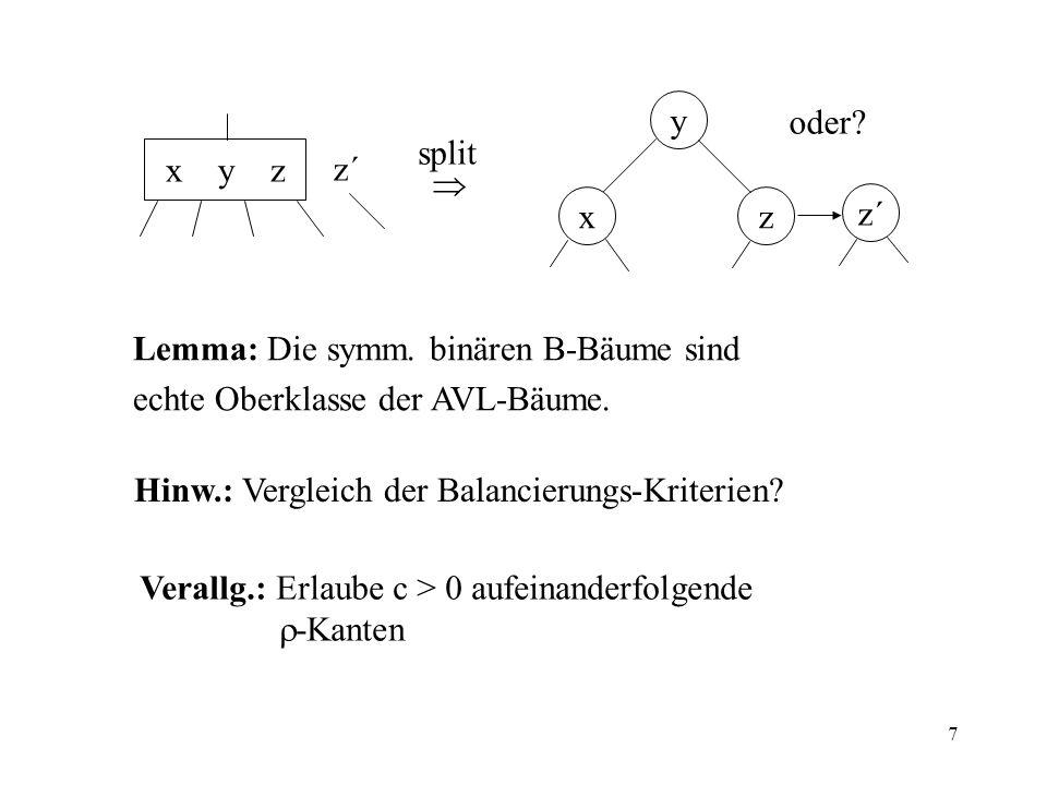 7 x y z z´ split y xz z´ oder? Lemma: Die symm. binären B-Bäume sind echte Oberklasse der AVL-Bäume. Hinw.: Vergleich der Balancierungs-Kriterien? Ver