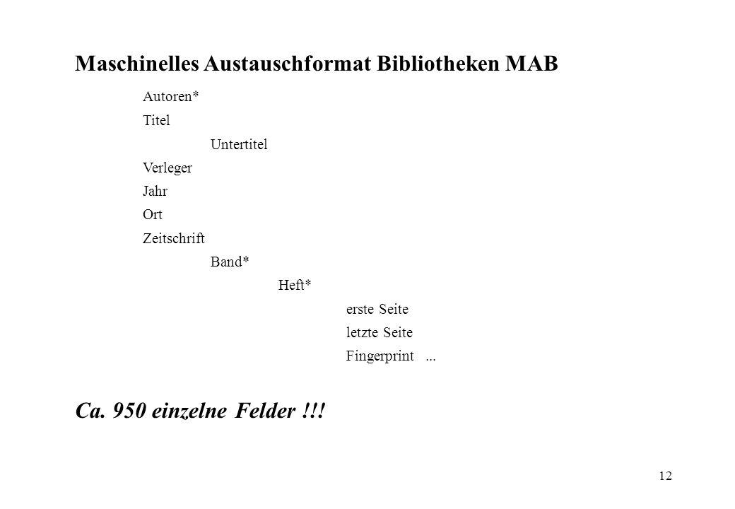 12 Maschinelles Austauschformat Bibliotheken MAB Autoren* Titel Untertitel Verleger Jahr Ort Zeitschrift Band* Heft* erste Seite letzte Seite Fingerpr