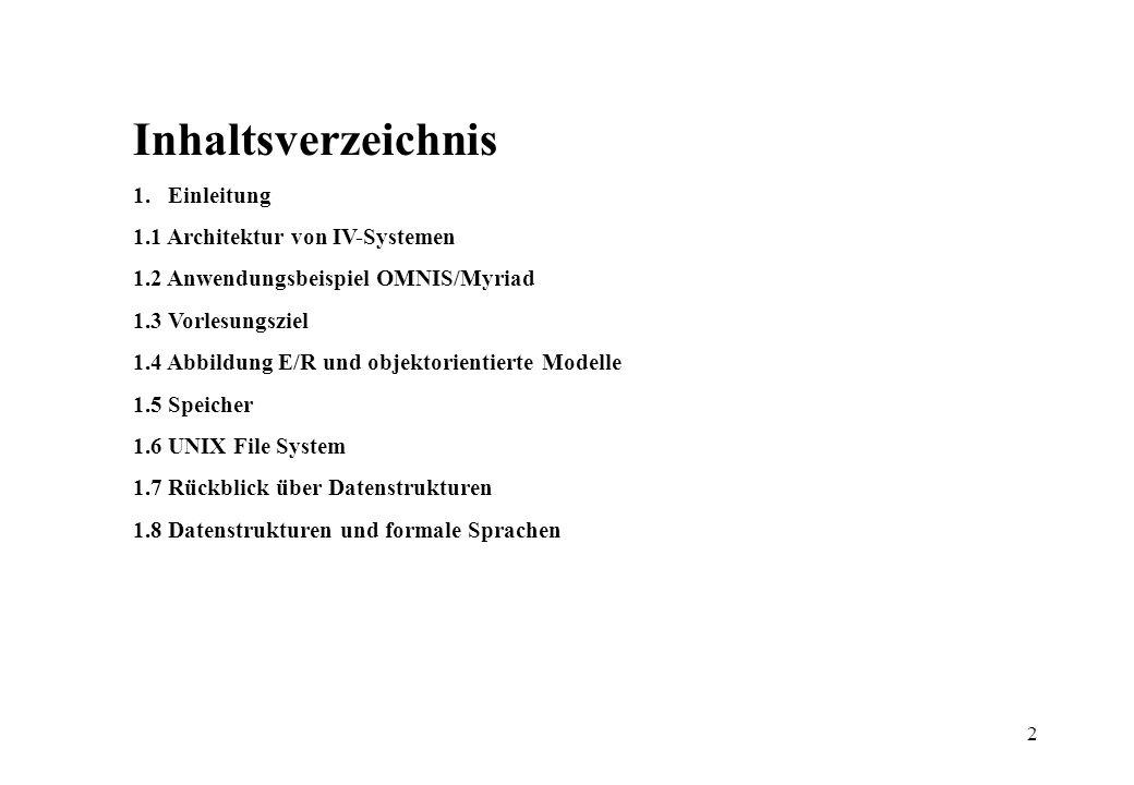 2 Inhaltsverzeichnis 1. Einleitung 1.1 Architektur von IV-Systemen 1.2 Anwendungsbeispiel OMNIS/Myriad 1.3 Vorlesungsziel 1.4 Abbildung E/R und objekt