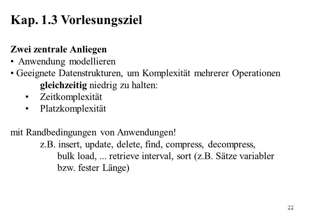 22 Kap. 1.3 Vorlesungsziel Zwei zentrale Anliegen Anwendung modellieren Geeignete Datenstrukturen, um Komplexität mehrerer Operationen gleichzeitig ni