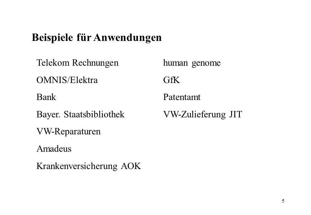 5 Beispiele für Anwendungen Telekom Rechnungen OMNIS/Elektra Bank Bayer. Staatsbibliothek VW-Reparaturen Amadeus Krankenversicherung AOK human genome