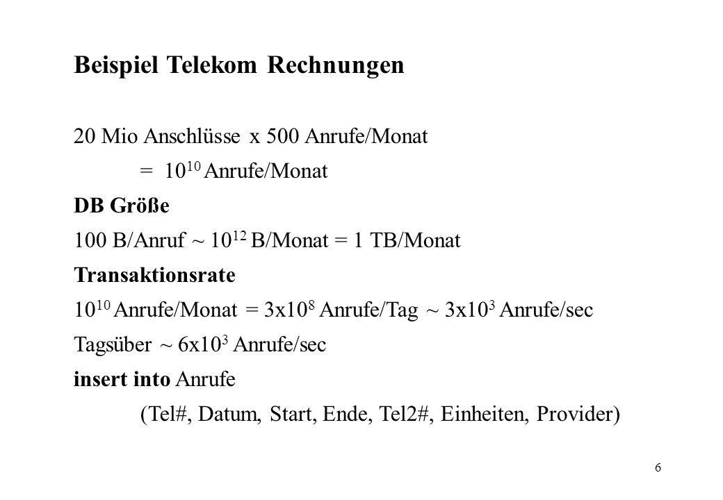 6 Beispiel Telekom Rechnungen 20 Mio Anschlüsse x 500 Anrufe/Monat = 10 10 Anrufe/Monat DB Größe 100 B/Anruf ~ 10 12 B/Monat = 1 TB/Monat Transaktionsrate 10 10 Anrufe/Monat = 3x10 8 Anrufe/Tag ~ 3x10 3 Anrufe/sec Tagsüber ~ 6x10 3 Anrufe/sec insert into Anrufe (Tel#, Datum, Start, Ende, Tel2#, Einheiten, Provider)