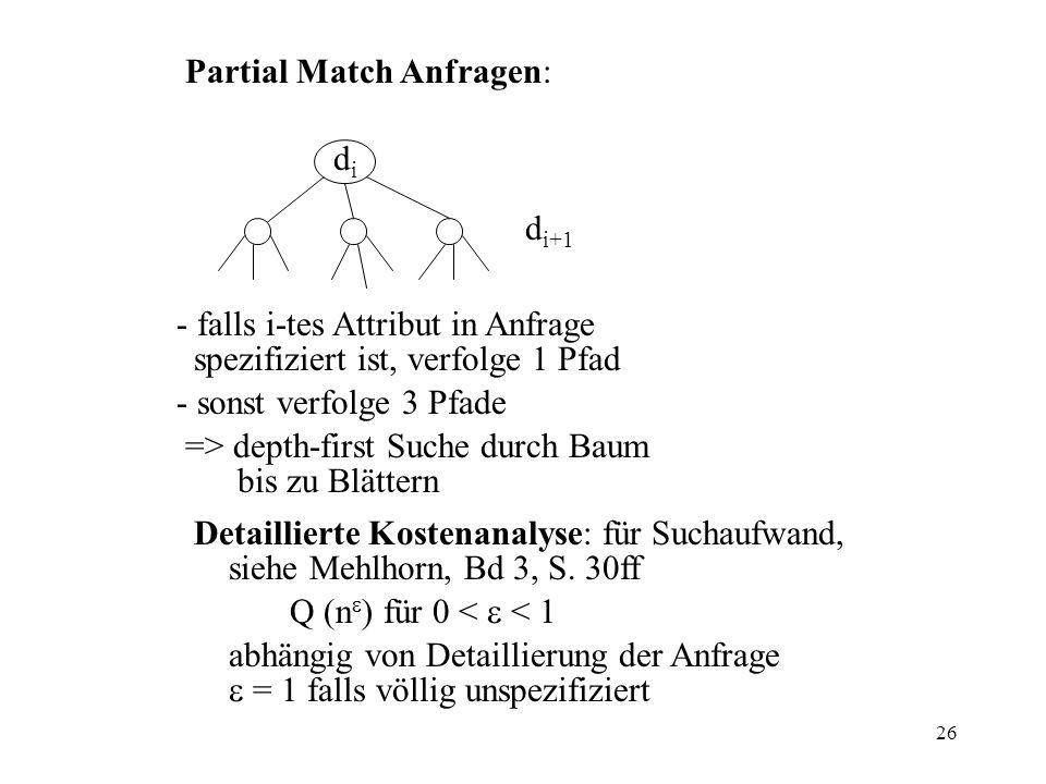 26 Partial Match Anfragen: - falls i-tes Attribut in Anfrage spezifiziert ist, verfolge 1 Pfad - sonst verfolge 3 Pfade => depth-first Suche durch Baum bis zu Blättern Detaillierte Kostenanalyse: für Suchaufwand, siehe Mehlhorn, Bd 3, S.