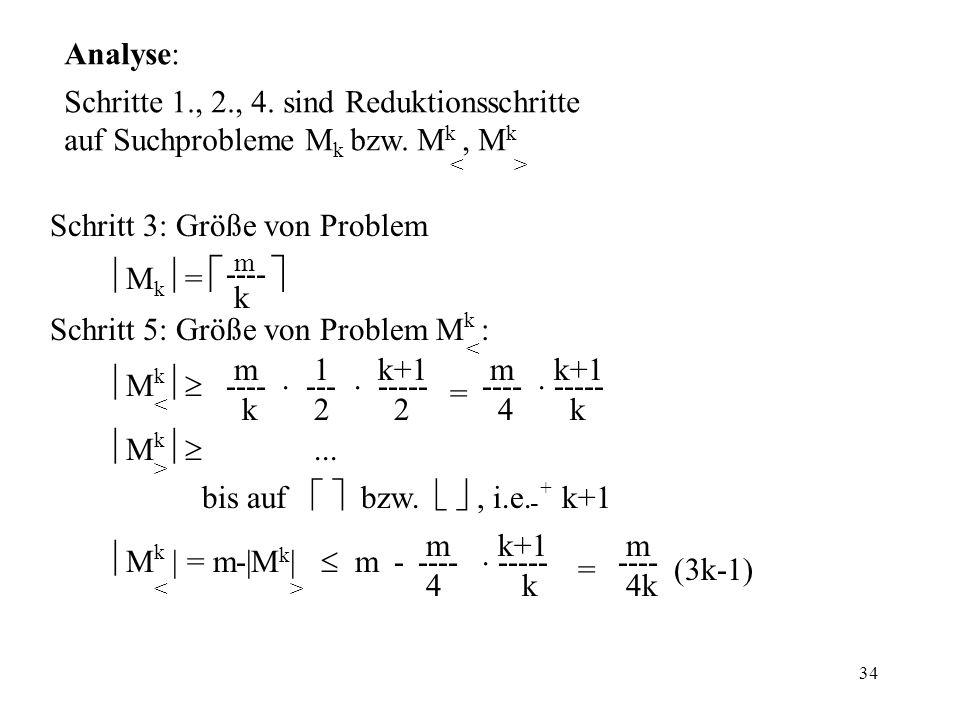 34 Analyse: Schritte 1., 2., 4. sind Reduktionsschritte auf Suchprobleme M k bzw.