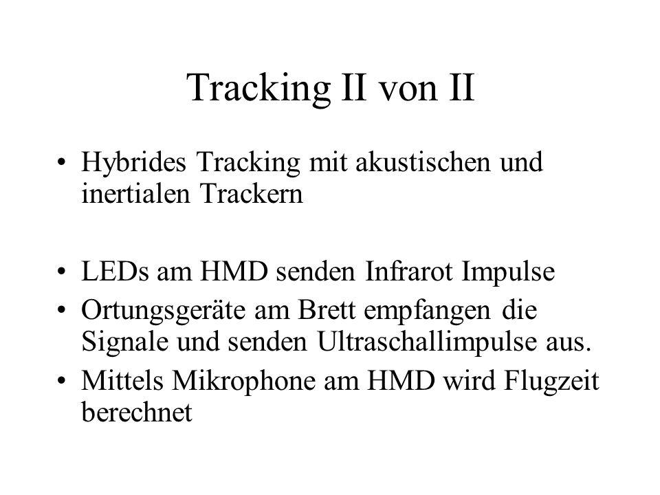 Tracking II von II Hybrides Tracking mit akustischen und inertialen Trackern LEDs am HMD senden Infrarot Impulse Ortungsgeräte am Brett empfangen die Signale und senden Ultraschallimpulse aus.