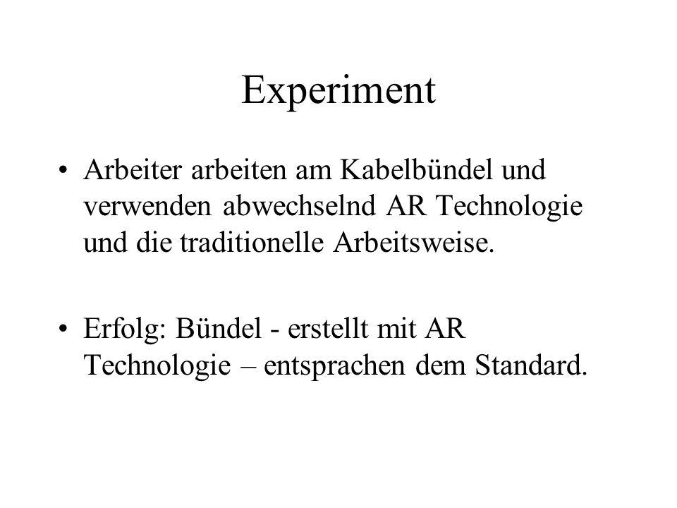 Experiment Arbeiter arbeiten am Kabelbündel und verwenden abwechselnd AR Technologie und die traditionelle Arbeitsweise.