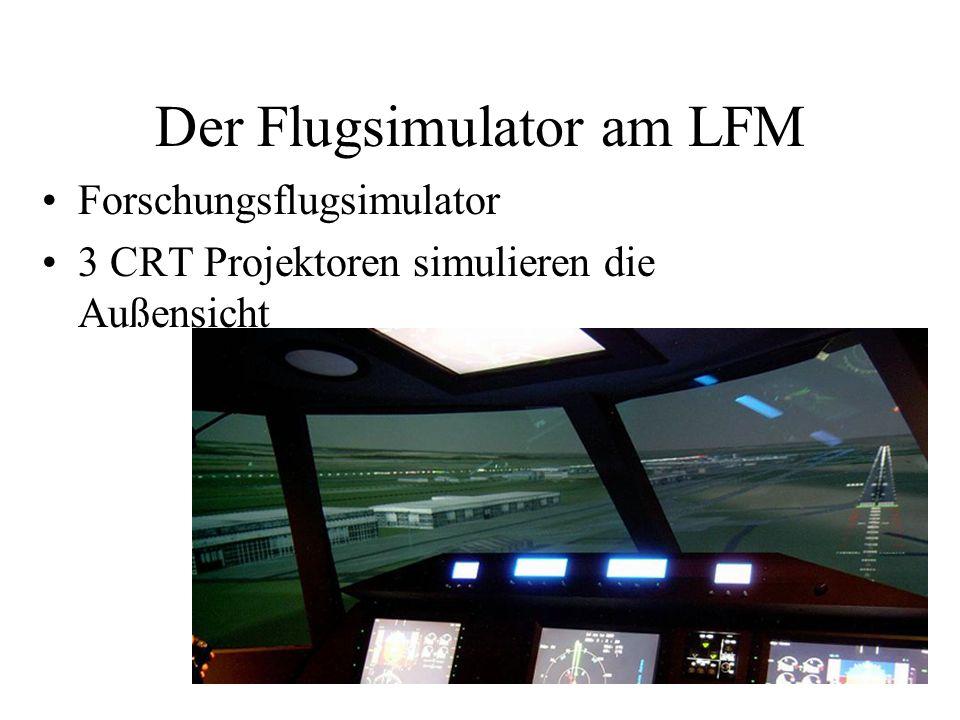 Der Flugsimulator am LFM Forschungsflugsimulator 3 CRT Projektoren simulieren die Außensicht
