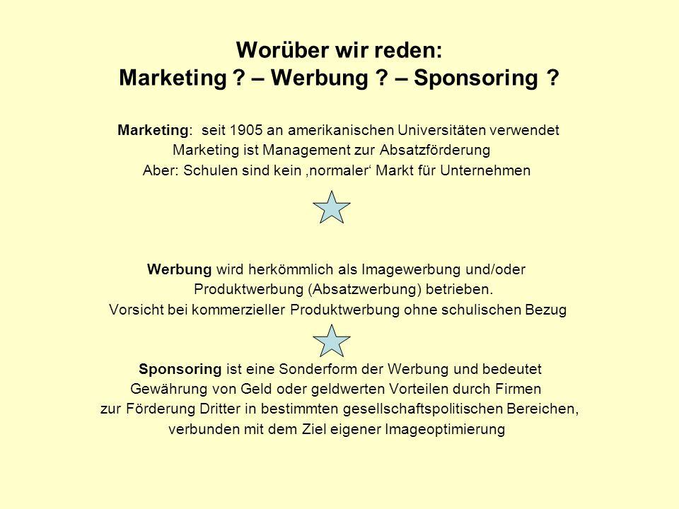 Worüber wir reden: Marketing ? – Werbung ? – Sponsoring ? Marketing: seit 1905 an amerikanischen Universitäten verwendet Marketing ist Management zur