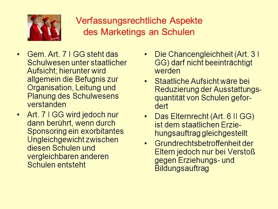 Verfassungsrechtliche Aspekte des Marketings an Schulen Gem. Art. 7 I GG steht das Schulwesen unter staatlicher Aufsicht; hierunter wird allgemein die