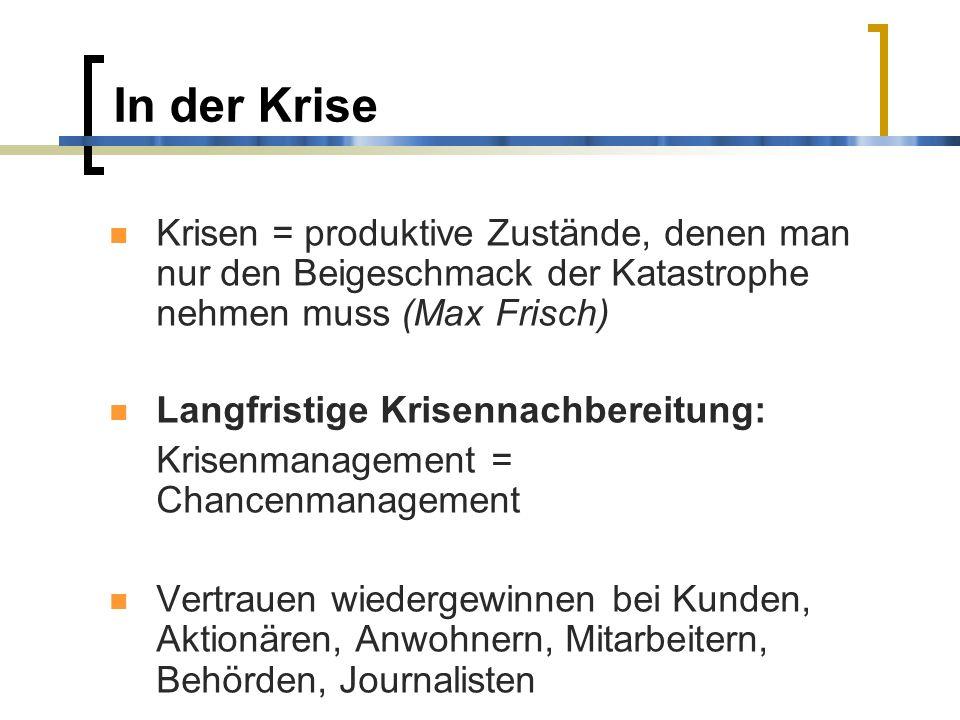 In der Krise Krisen = produktive Zustände, denen man nur den Beigeschmack der Katastrophe nehmen muss (Max Frisch) Langfristige Krisennachbereitung: K