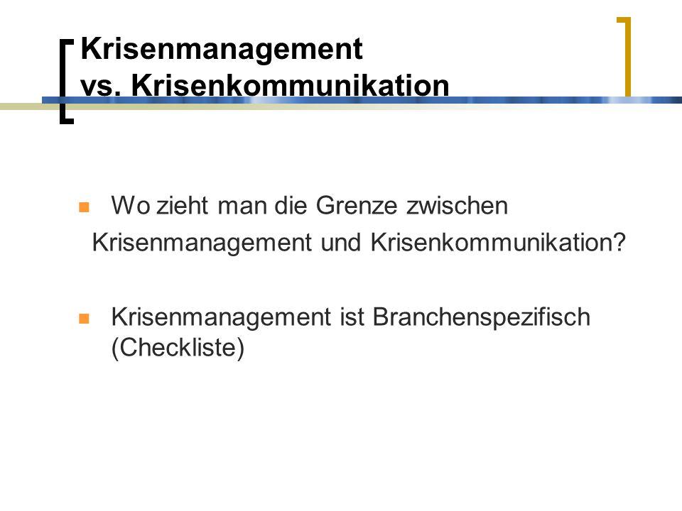 Krisenmanagement vs. Krisenkommunikation Wo zieht man die Grenze zwischen Krisenmanagement und Krisenkommunikation? Krisenmanagement ist Branchenspezi