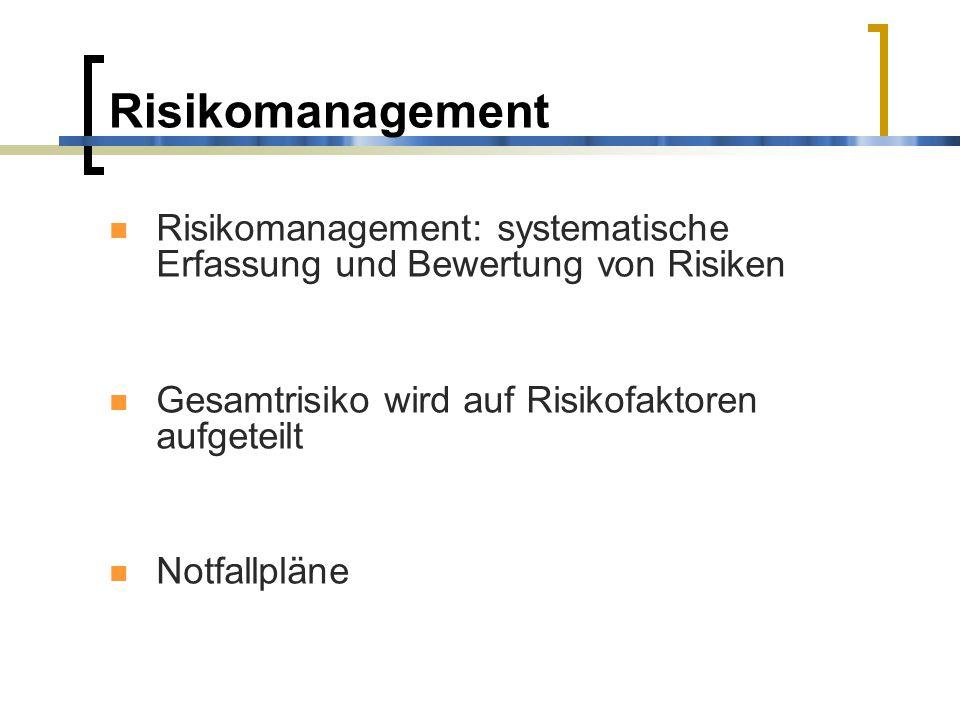 Risikomanagement Risikomanagement: systematische Erfassung und Bewertung von Risiken Gesamtrisiko wird auf Risikofaktoren aufgeteilt Notfallpläne