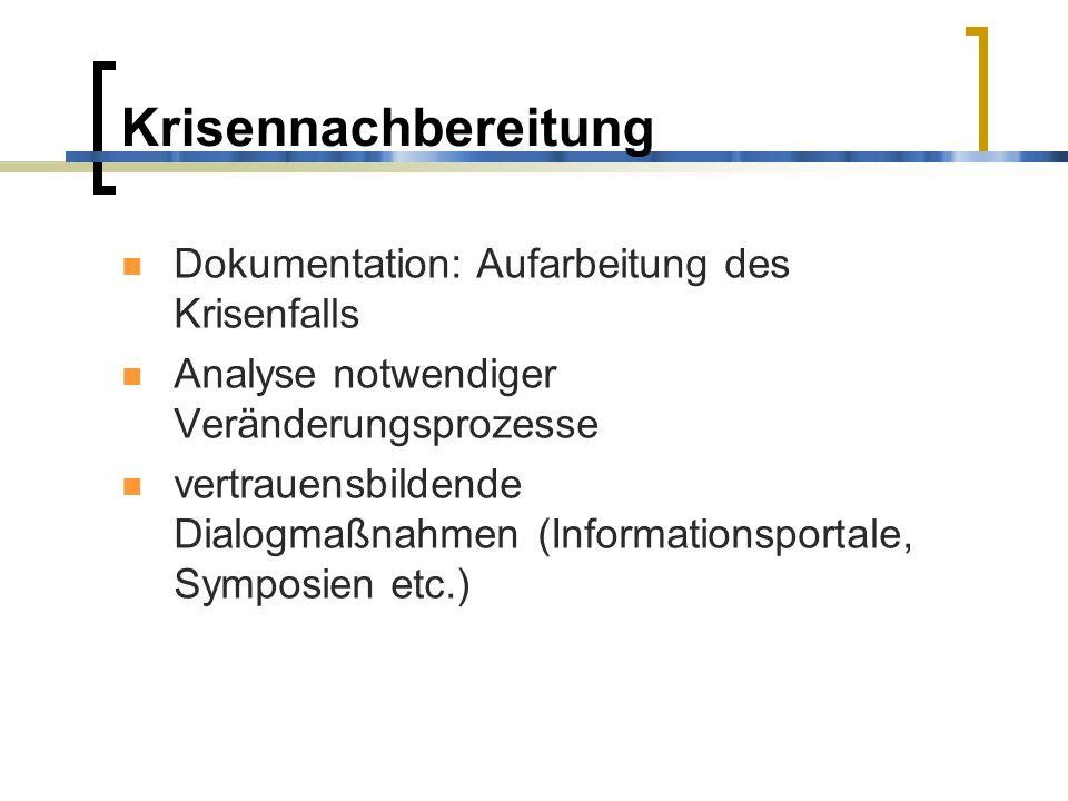 Krisennachbereitung Dokumentation: Aufarbeitung des Krisenfalls Analyse notwendiger Veränderungsprozesse vertrauensbildende Dialogmaßnahmen (Informati